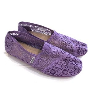 TOMS Purple Lace Flats Shoes